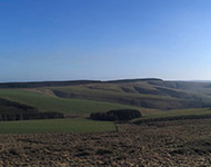 Looking south on a sunny day, over the Bothwell Water valley.