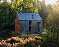 The timber and corrugated metal clad both at Inshriach near Aviemore.