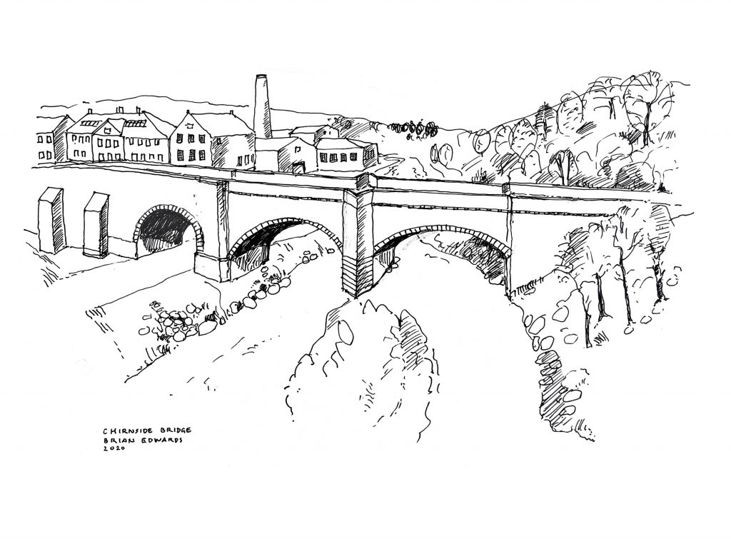 A sketch of Chirnside Bridge showing the mill behind, by Brian Edwards.