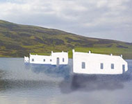 The Whiteadder reservoir with white shapes of buildings floating on the surface.