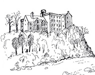 A black ink sketch of Hutton Castle with the river below.