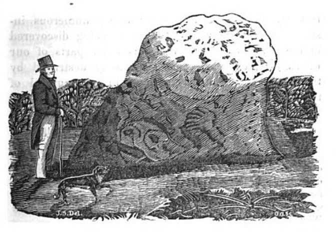 An old ink sketch of the Pech Stane with a man in a top hat and tails and a dog next to it.