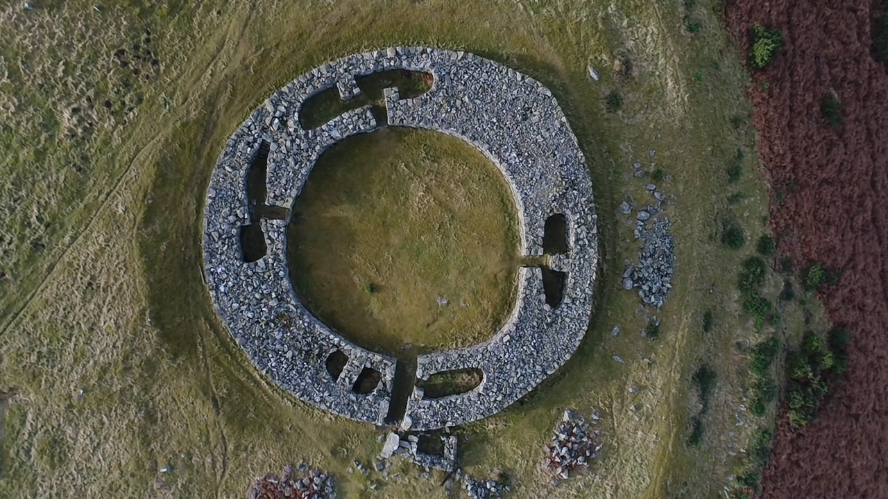 Aerial view directly above Edin's Hall Broch, January 2020.