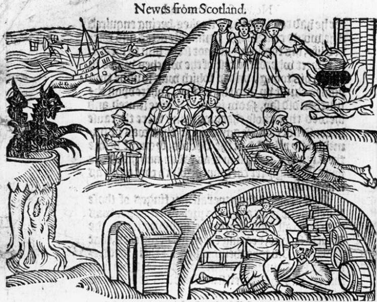 Drawing entitled 'The North Berwick Witches meet the Devil in the local kirkyard', from contemporary pamphlet 'Newes from Scotland', printed in 1591.