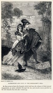 Drawing of the tragic lovers, Lucy and Edgar, from Sir Water Scott's 1819 novel 'The Bride of Lammermoor', 1886.