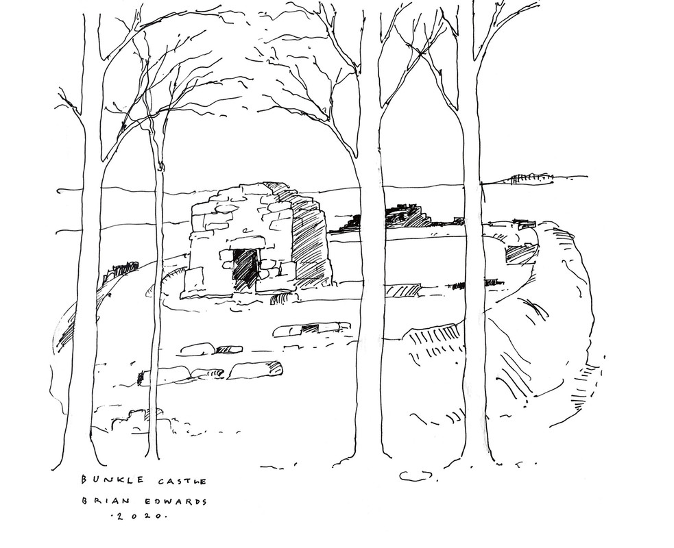 Sketch of Bunkle Castle by Brian Edwards.