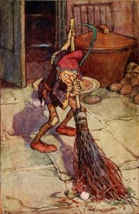 Illustration of a brownie, by Arthur Rackham, 1910.