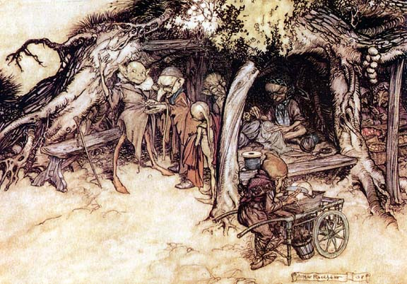 Illustration of elves from Shakespeare's 'Midsummer Nights Dream', by Arthur Rackham.