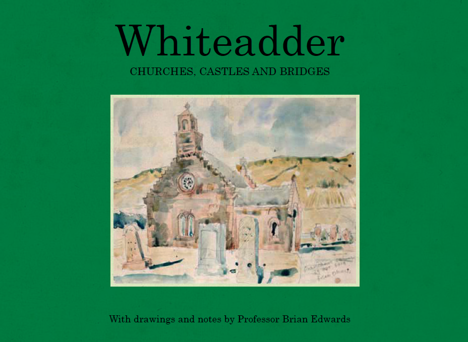 The front cover of the architectural sketchbook, with a watercolour of Cranshaws Church by Brian Edwards.