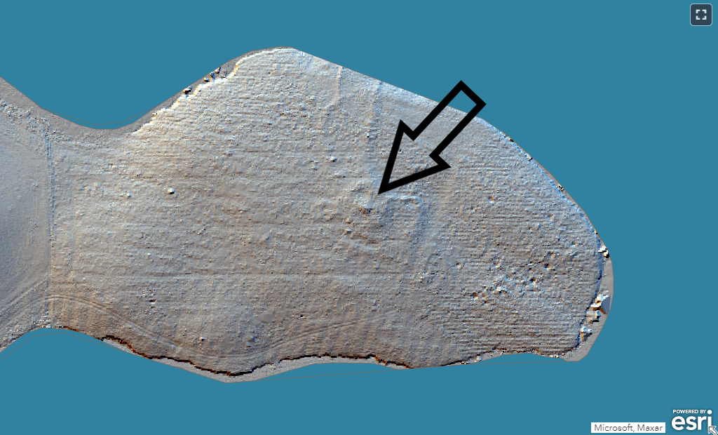 Image from LiDAR survey showing a pimple-like feature on a promontory into the Whiteadder Reservoir