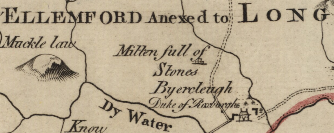 Old map detail showing location of the Mutiny Stones, spelt 'Mitten full of Stones'.