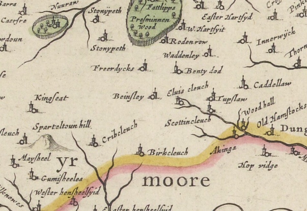 Map excerpt from Blaeu's Atlas of Scotland (1654) showing Boonslie marked as Beinsley