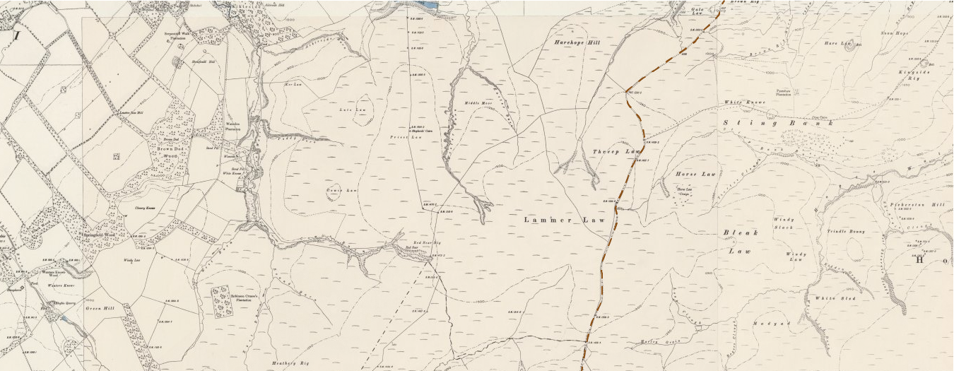 Map excerpt showing the route of a possible medieval road on the OS six inch map, published 1900