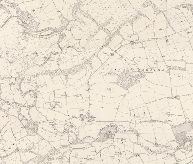Excerpt of OS map showing the area north of Duns, with regular field system and large swathes of forestry
