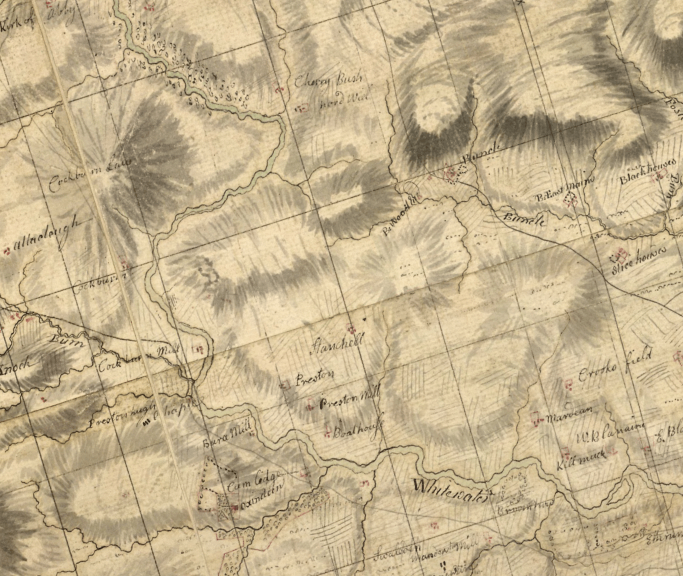 Excerpt of 18th century map showing the area just north of Duns, with few field systems or woodlands depicted