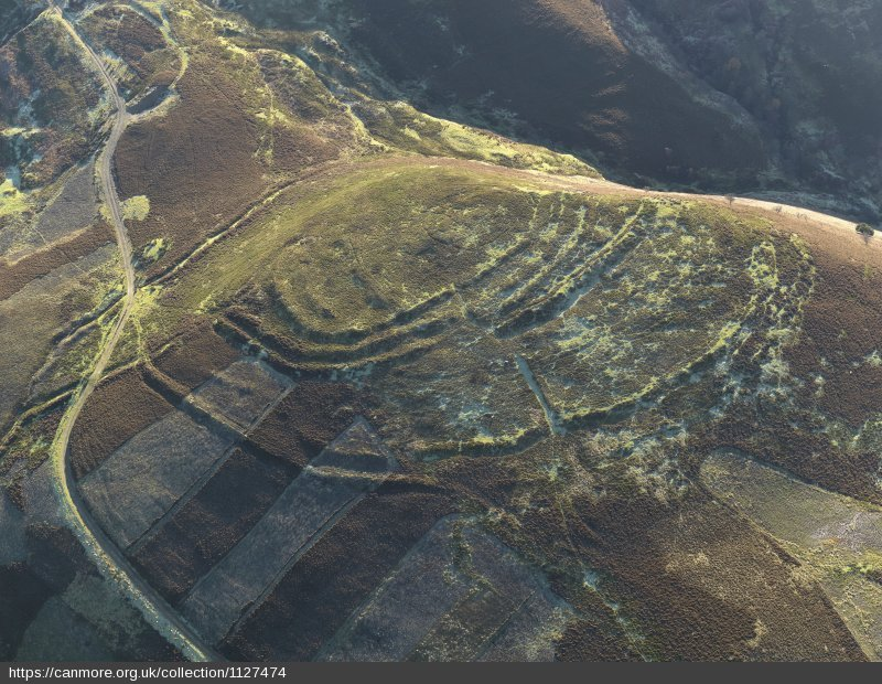aerial view of a hilltop covered in heather, with concentric ramparts marking the outline of a hillfort