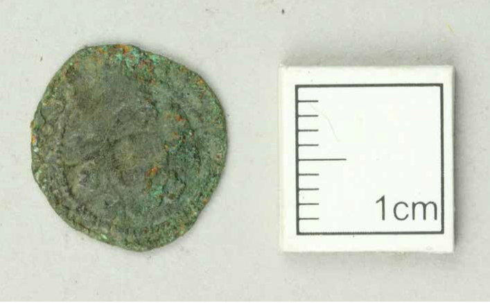 Image of a copper alloy coin, a little over 1cm in diameter