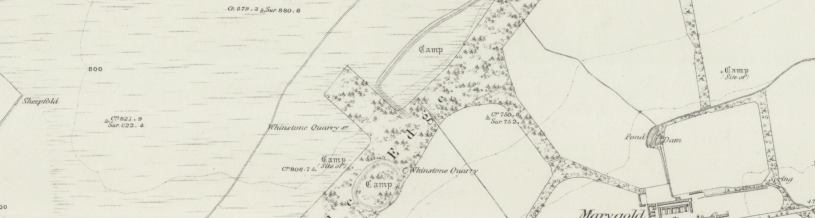 An image of an historic map showing Bunkle Edge and numerous earthworks