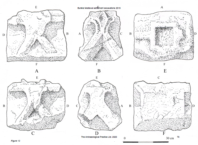 Illustration showing a decorative carved stone from all six sides. the most decorative side has a floral motif.