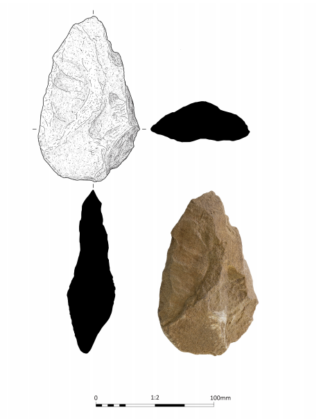A laef-shaped object made of pale sandstone, shown as a photograph and a line drawing