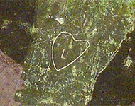 Outline of a heart shape marked on the hillside.