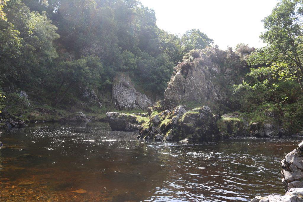 Pools in the Whiteadder River gorge below Elba suspension bridge.