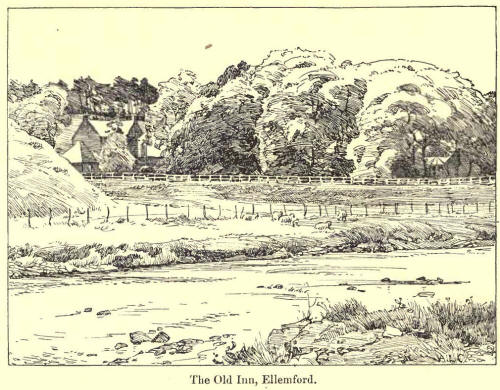 Black ink sketch of trees by the riverside, surrounding the Old Inn at Ellemford.