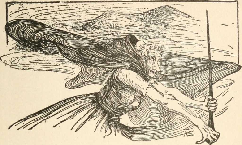 Scottish Fairy in a cape and bonnet, holding a long stick from 'Scottish Fairy and Folk Tales'.