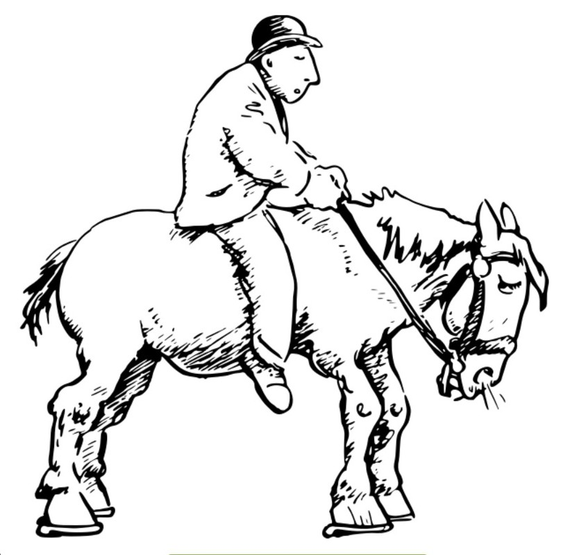 Old man on horse.