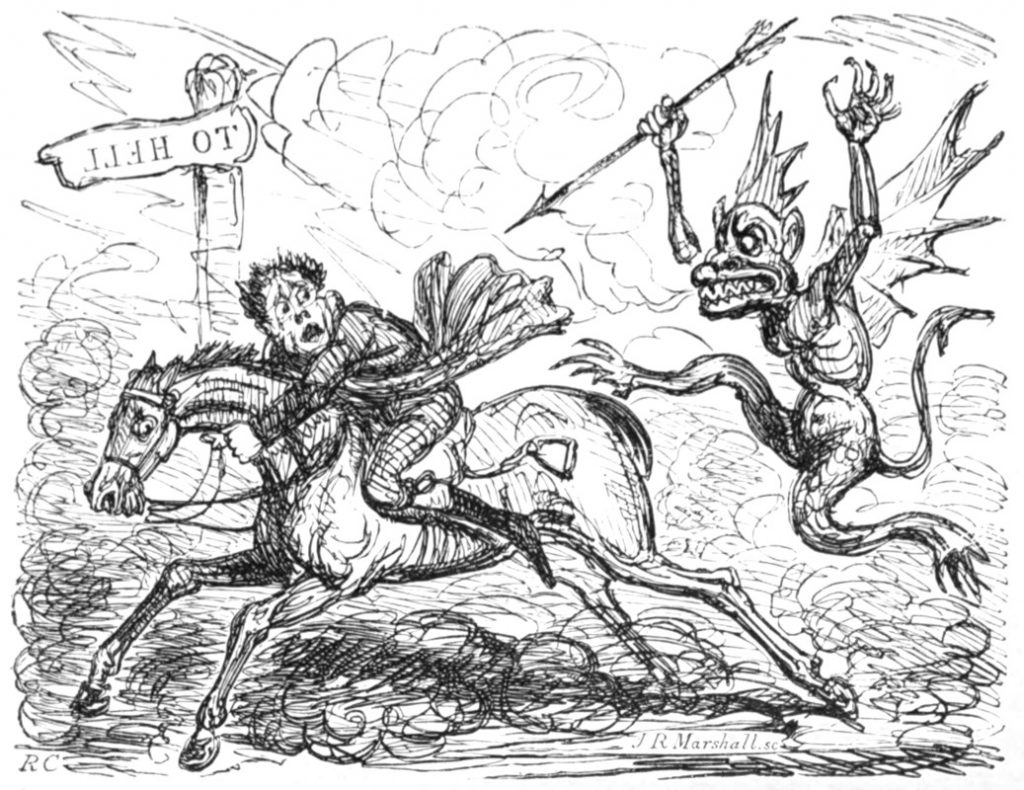 Engraving of the devil chasing a man on horseback, with signpost 'to hell', by Robert Cruikshank, before 1856.