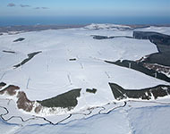 Lammermuir hills covered in snow.
