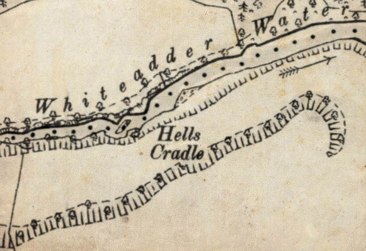 Detail from an old map showing the location of Hells Cradle, near Elba.