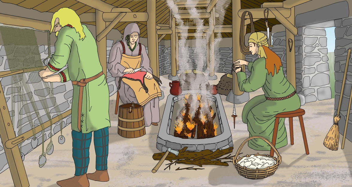 illustration of three people inside a building with a central hearth