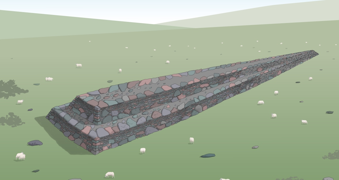 Illustration of a large, long, drystone structure
