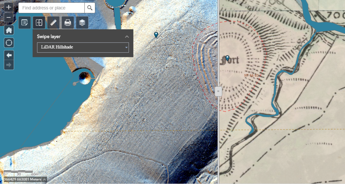 Screengrab of LiDAR imagery over the 1st edition OS map