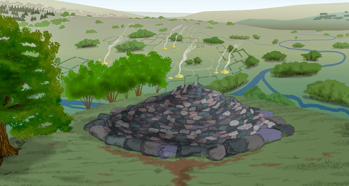 Illustration with a pile of stones forming a cairn