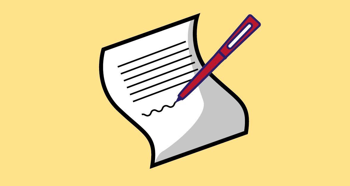 Icon of pen writing on paper